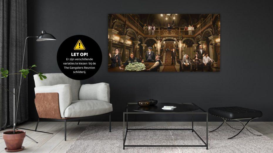The Gangsters Reunion schilderij. Let op! Er zijn verschillende variaties te kiezen bij de The Gangsters Reunion schilderij.