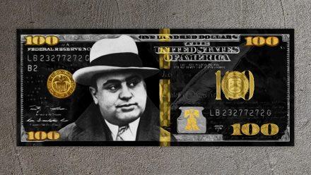 Al Capone Gold/Silver 100 Dollar schilderij