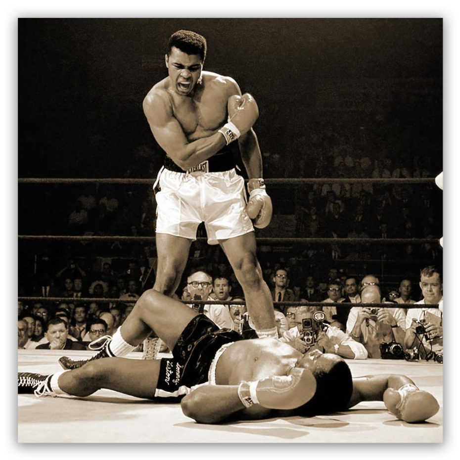 Mohammed Ali vs Liston schilderij sepia
