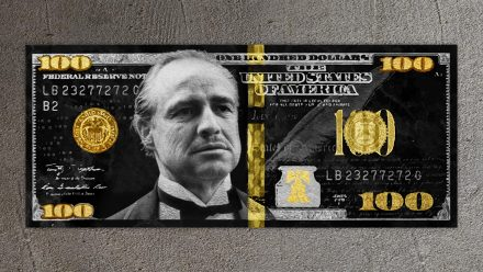 Godfather Gold/Silver 100 Dollar schilderij