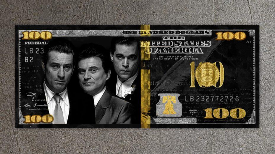 Goodfellas Gold/Silver 100 Dollar schilderij