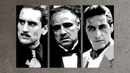 The 3 Godfather's schilderij (De Niro,Pacino,Brando)