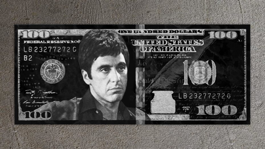 Tony Montana Silver/Gold 100 Dollar schilderij