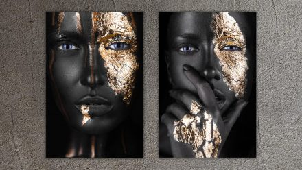 Woman with Gold Faces schilderij