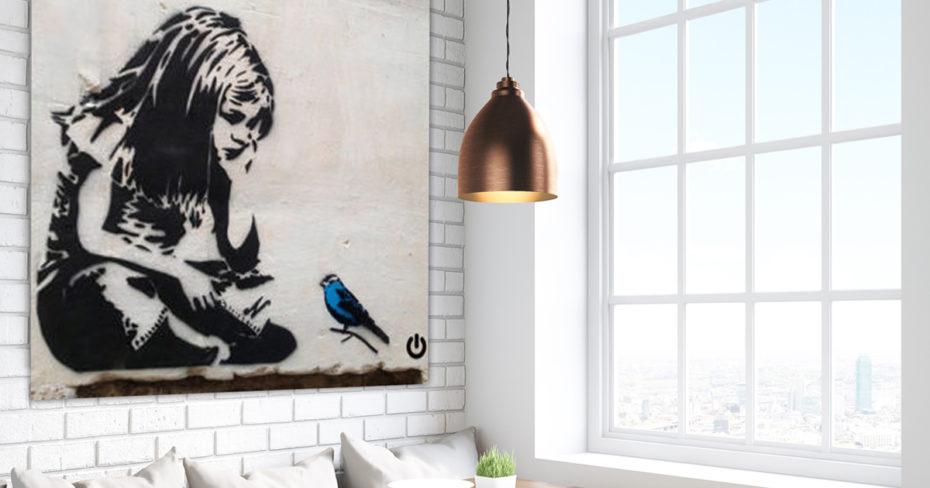 Banksy never quit girl schilderij