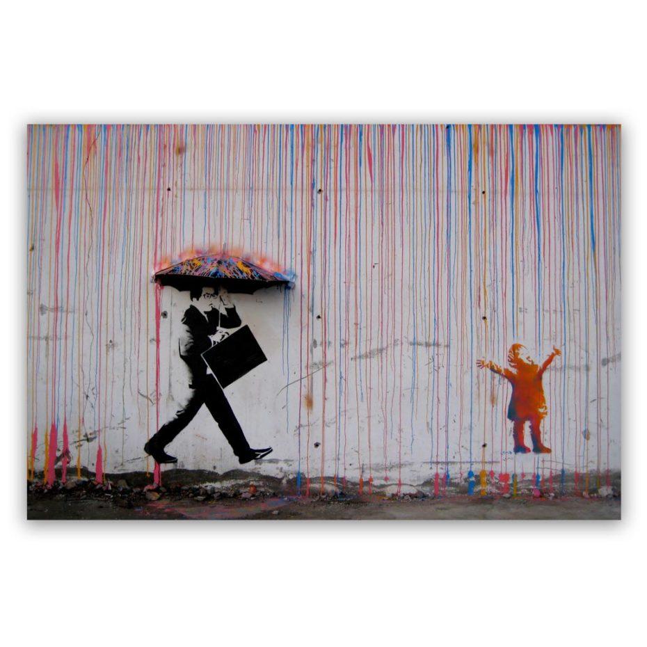 Banksy coloured rain schilderij