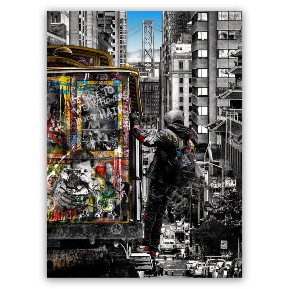 Banksy tram art schilderij