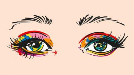 Popart schilderij gekleurde ogen
