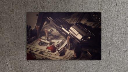 Gun/Dollar/Bullet schilderij