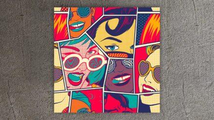 Popart schilderij ladies sunglasses