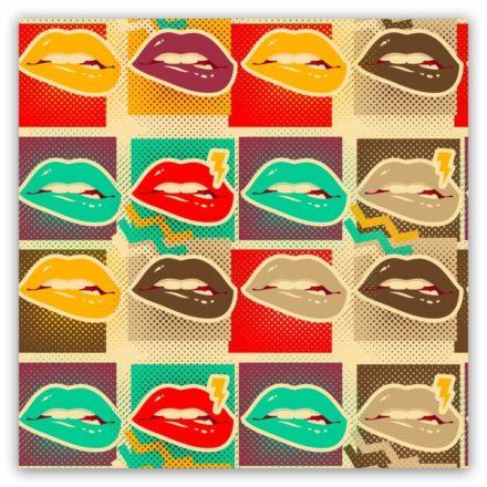 Popart schilderij lip biting