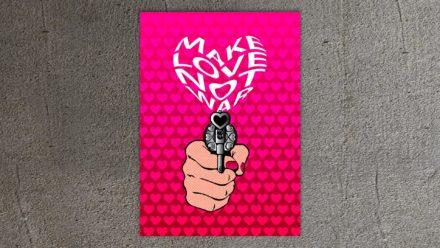 Popart schilderij make love not war