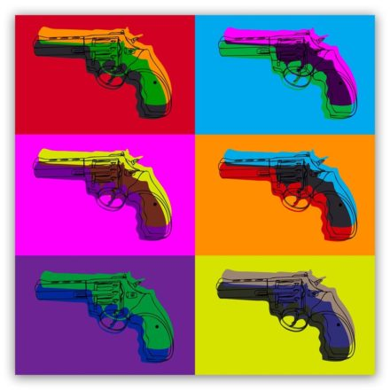 Popart schilderij pistol colors