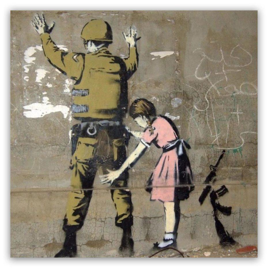 Banksy kid and soldier schilderij