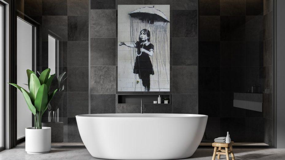 Banksy umbrella girl schilderij