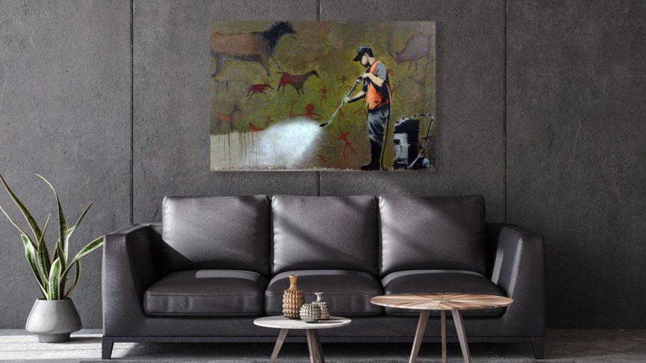 Banksy graffity cleaner schilderij