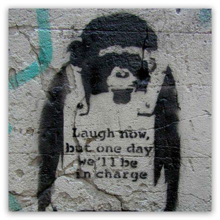 Banksy monkey schilderij