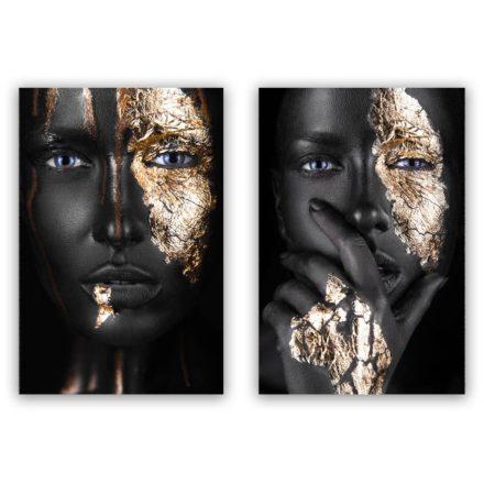 woman golden face schilderij